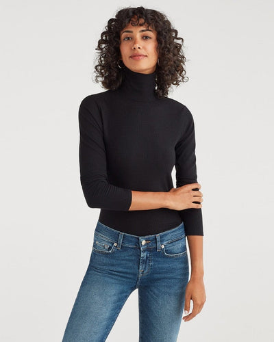7 For All Mankind Turtleneck Long Sleeve Tee in Jet Black