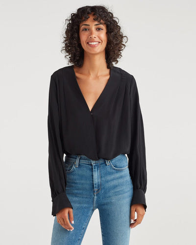 7 For All Mankind Cross Front V-Neck Top
