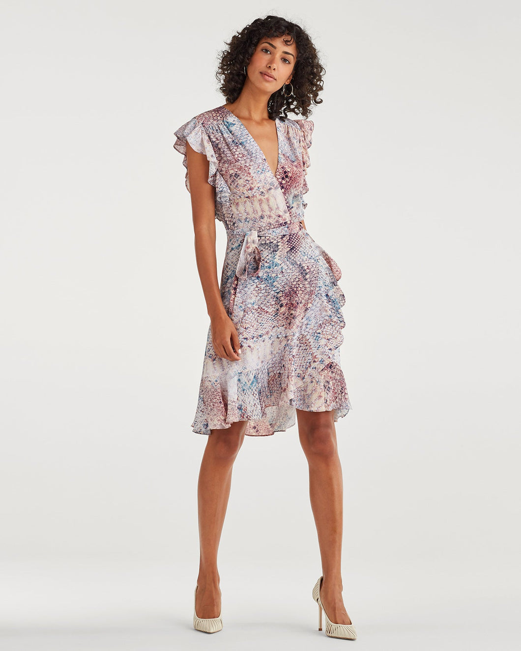 7 For All Mankind Sleeveless Ruffle Wrap Dress