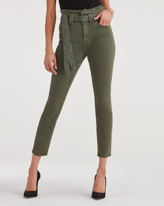 7 For All Mankind Paperbag Waist Pant in Army Green