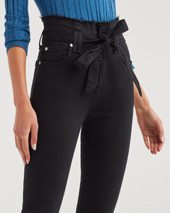 7 For All Mankind Paperbag Jean in Pitch Black