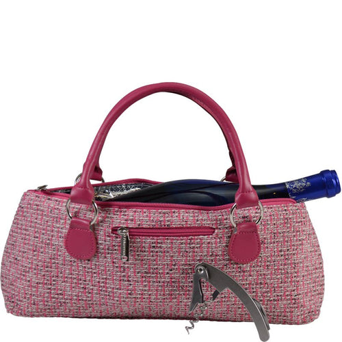 Wine Clutch Pink Tweed Insulated Single Bottle