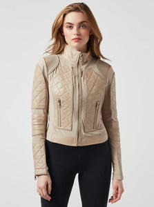Blanc Noir Leather Mesh Moto Jacket