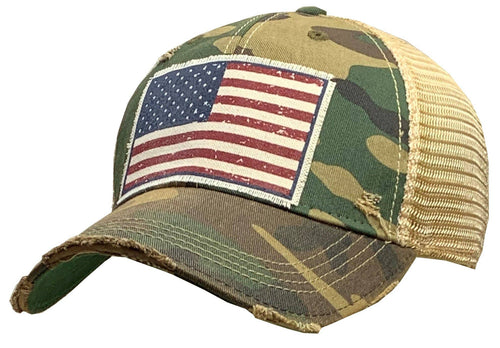 American Flag USA Distressed Trucker Baseball Cap