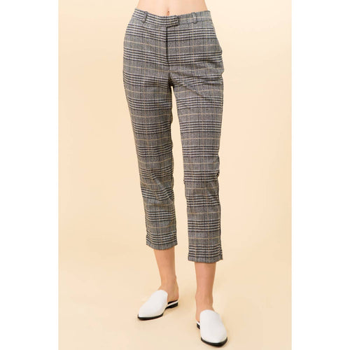 June & Hudson Houndstooth Cropped Pants - Plus Size