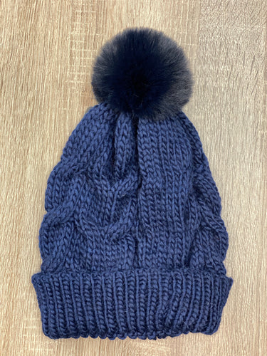 Cable Knit Beanie with Pom Pom - Multiple Colors