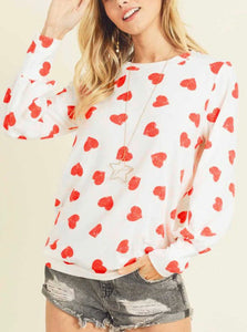 First Love Heart Puff Sleeve Print Top