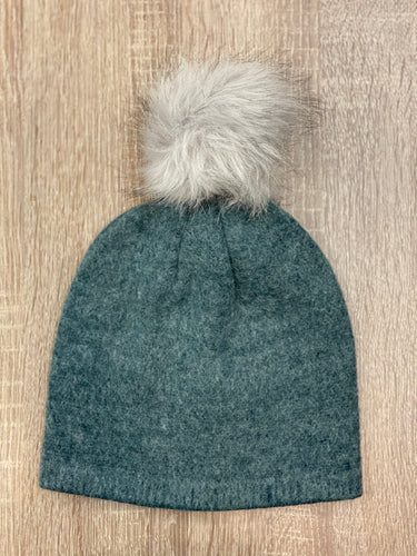 Beanie with Faux Fur Pom Pom - Two Colors