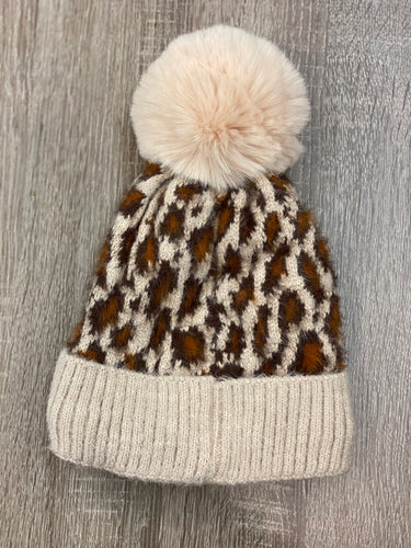 Winter Leopard Beanie with Pom Pom - Multiple Colors