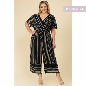 Luxology Striped Notched Collar Jumpsuit