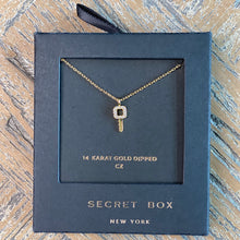 Load image into Gallery viewer, Gold and CZ Key Necklace