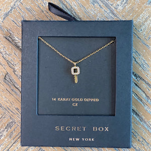 Gold and CZ Key Necklace