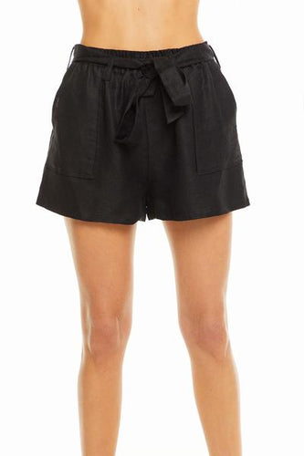 Chaser Brand Beachy Linen Paperbag Waist Tie Shorts