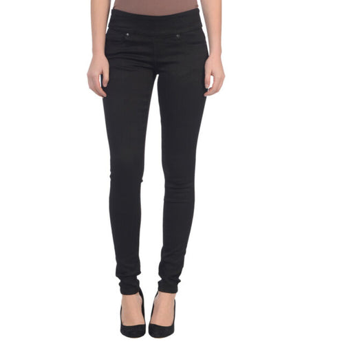 Lola Jeans Anna Mid-Rise Pull On Skinny Jeans in Black