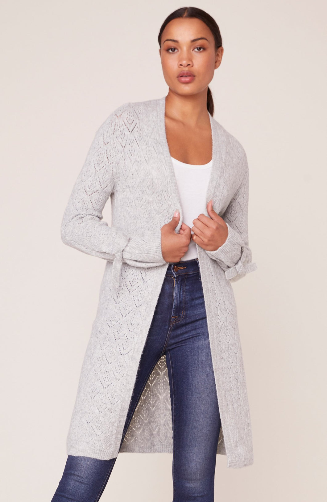 BB Dakota Tie Tryin' Tie Sleeve Cardigan Sweater