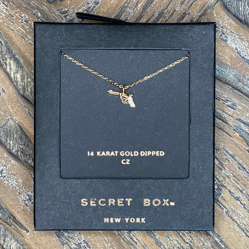 CZ Gold Dipped Western Gun Necklace