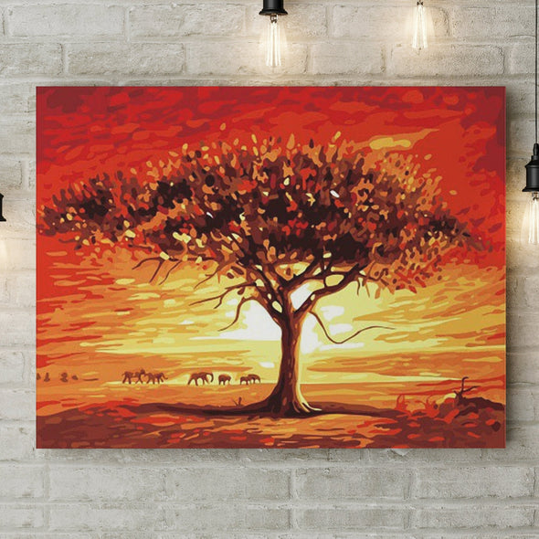 Baobab in the sunset - Pictură pe numere - Pictorul Fericit