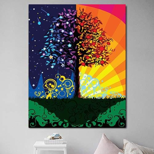 Day & Night Tree - Pictură pe numere - Pictorul Fericit