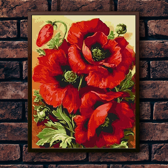 Intense Red Poppies - Pictură pe numere - Pictorul Fericit
