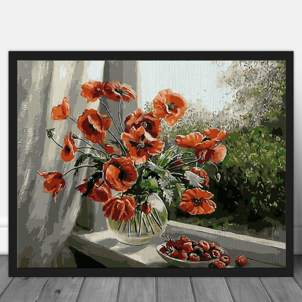 Poppies in rainy light - Pictură pe numere - Pictorul Fericit
