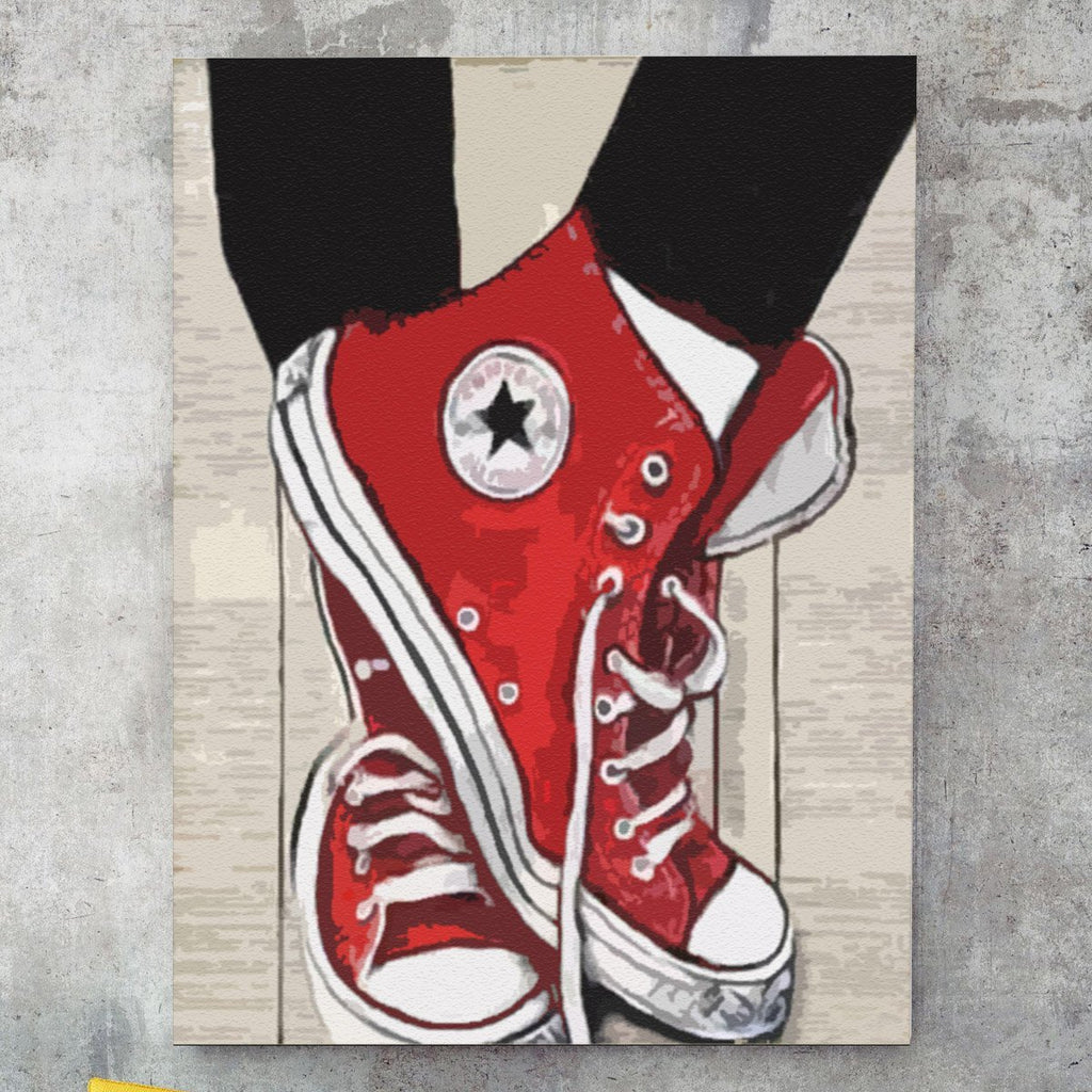 Red Converse Sneakers - Pictură pe numere