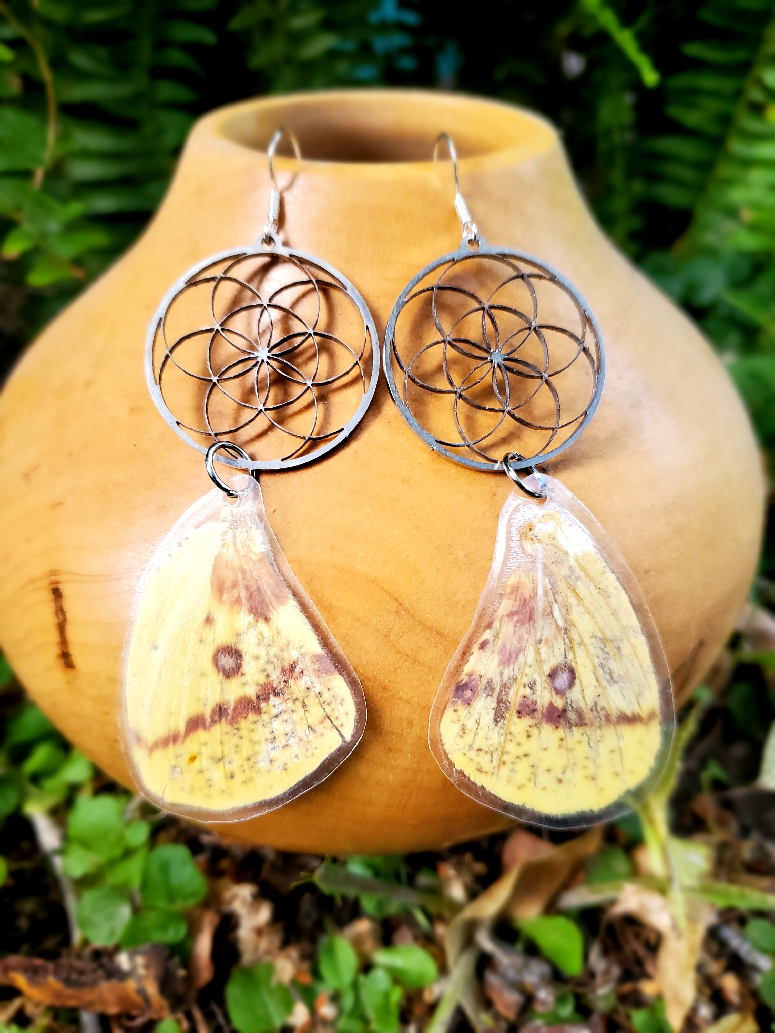Flower of Life Moth Wing Earrings