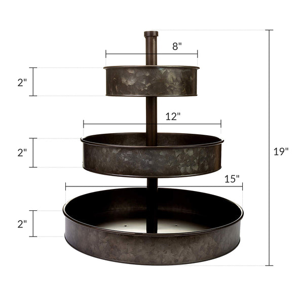 "3 Tier Serving Tray (Large 17"" Base) Rustic, Bronze Galvanized Metal 