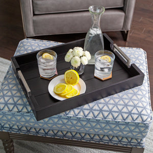 Bison Home Goods Black Grain Wooden Tray, 20-Inch Serving with Modern Stainless Steel Metal Handles, Ideal for Serving Breakfast, Coffee, Dinner, Wine, Appetizer, Bar, and Food, Party or Display Use
