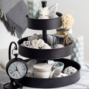 "Black 3 Tier Serving Tray (Large 17"" Base) Rustic, Black Galvanized Metal 