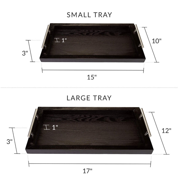 Bison Home Goods Wooden Serving Trays with Stainless Steel Handles (2 Pc. Set) Black Grain, Farmhouse Wood Butler Platters | Serve Breakfast, Appetizer, Coffee, Bar, and Food | Party or Display Use…