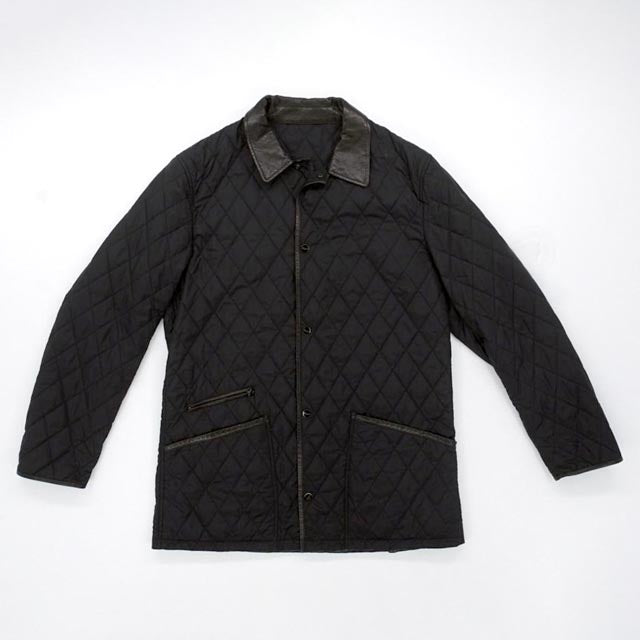 Quilted Jacket with Leather Trim Size 52L