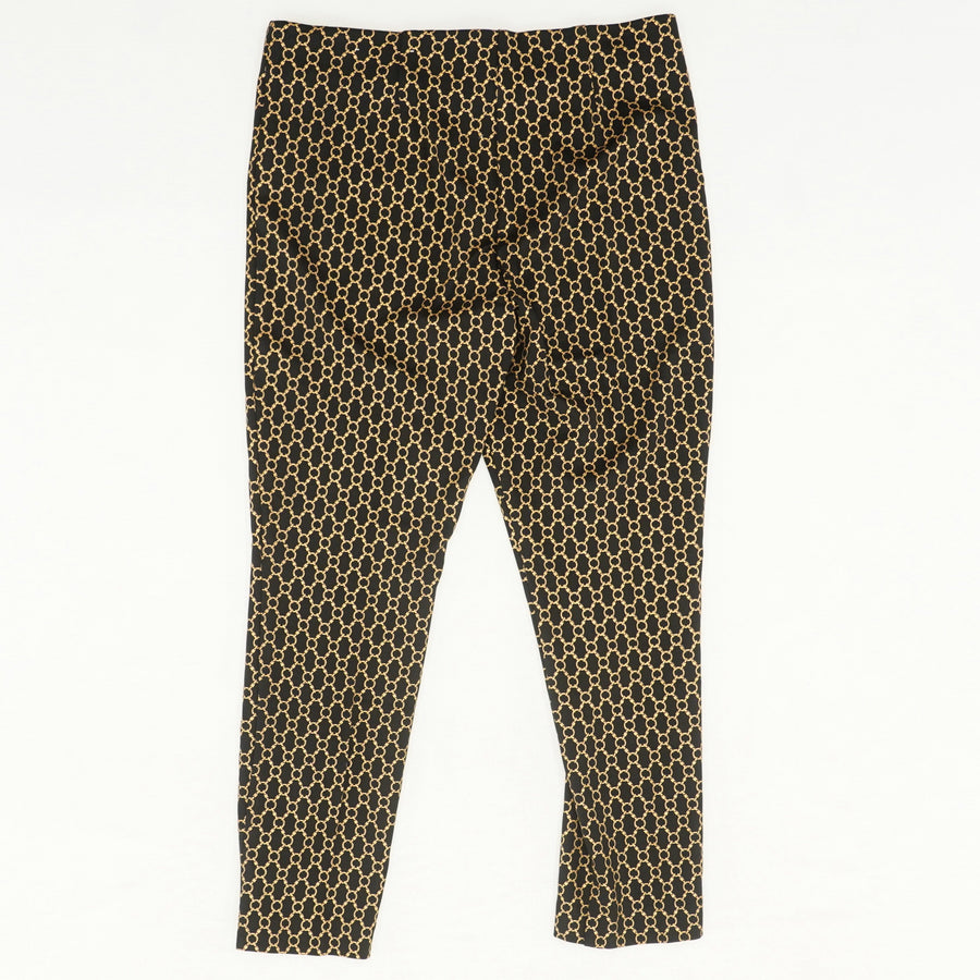 Juliet Embossed Chain-Print Ankle Pants Size 8