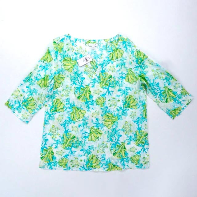 Blue and Green Watercolor Splash Top Size M