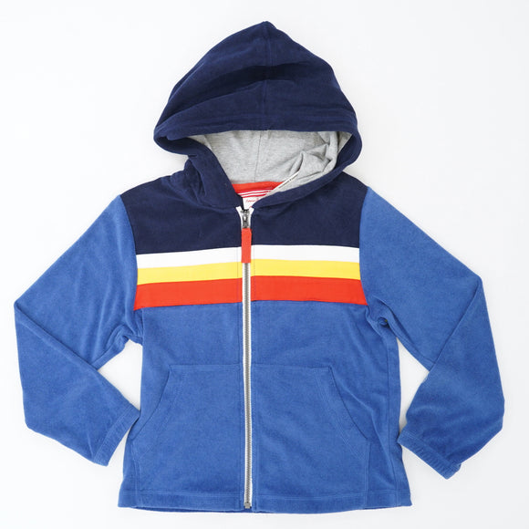 Blue Full Zip Hoodie With Colorful Stripes Size 5T