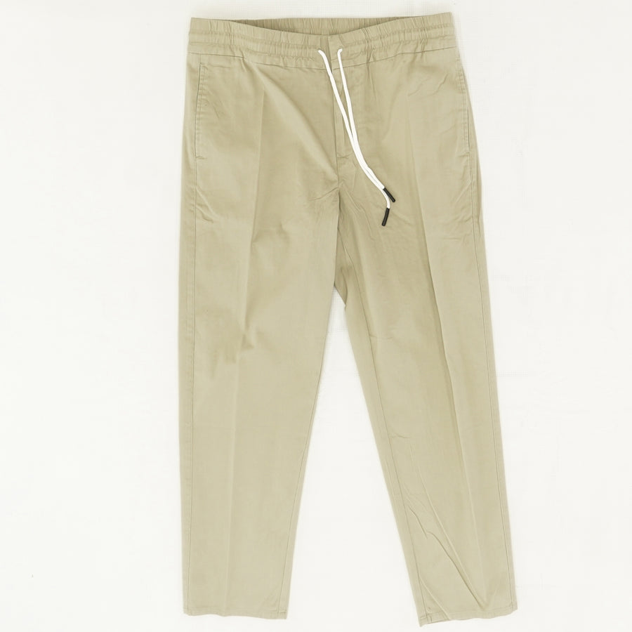Slim Fit Drawstring Pants in Greige Size L