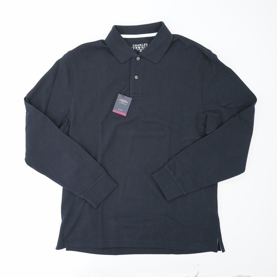 Black Plain Long Sleeve Pique Polo Size M