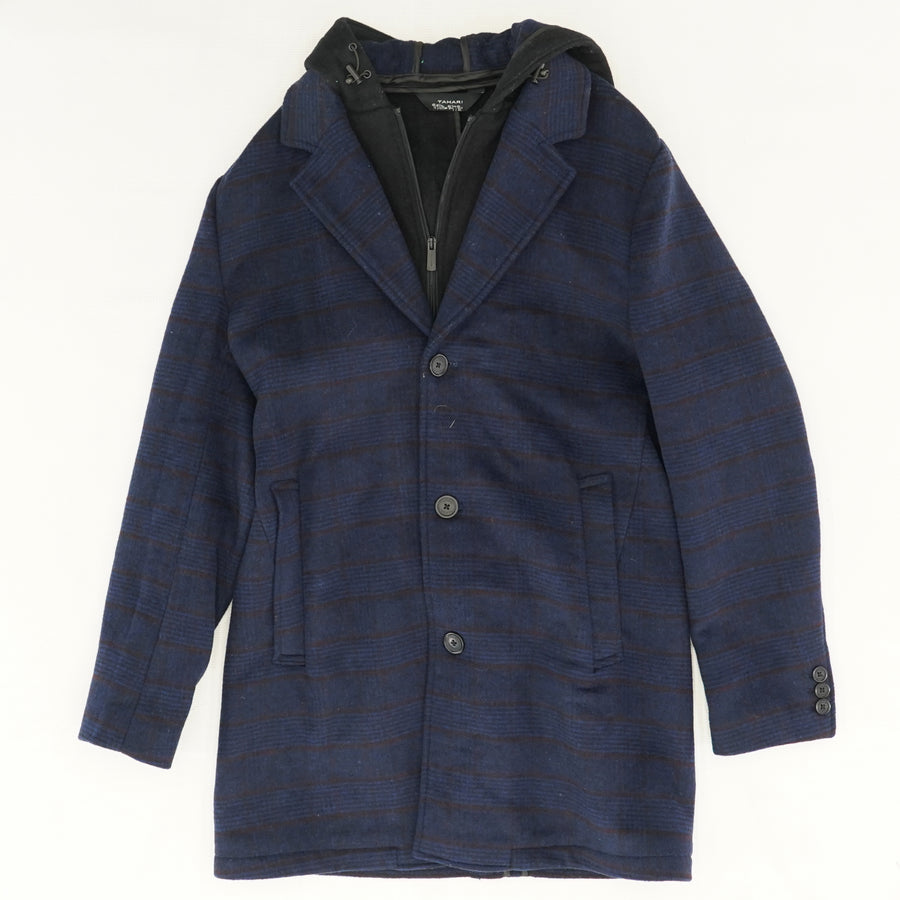 Navy Hooded Trench Coat Size M