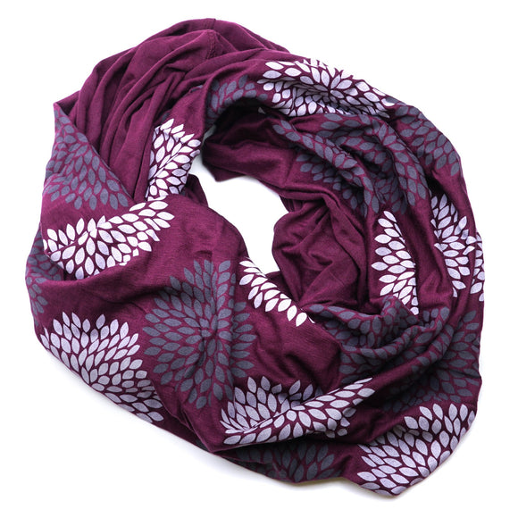 Infinity Scarf In Double Flowers on Plum