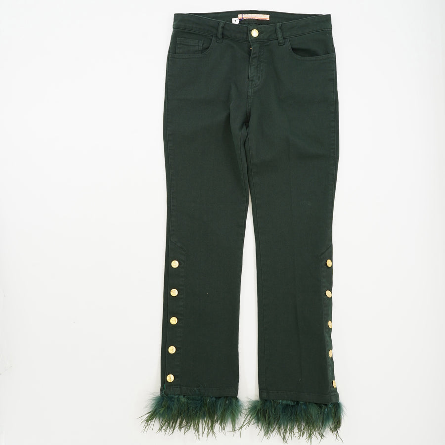 Fabiola Feather Jeans with Button Details