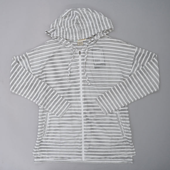 Mesh Hooded Striped Full Zip Jacket Size S