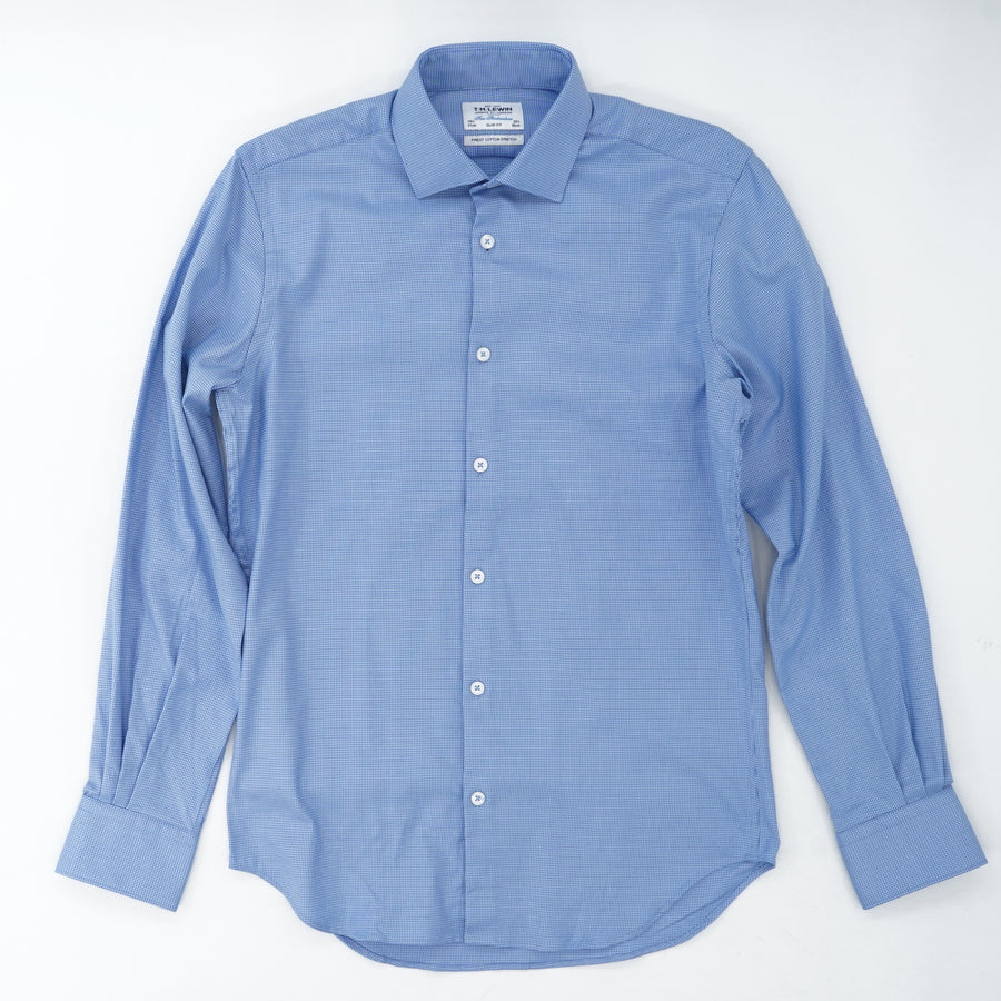 Blue Printed Slim Fit Button Down