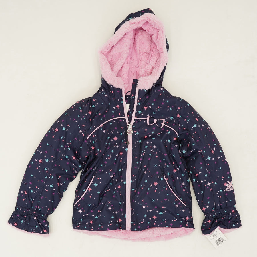 Fleece Lined Hooded Star Jacket Size 4T