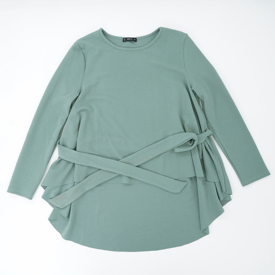 Green Long Sleeve Blouse With Tie Belt Size L