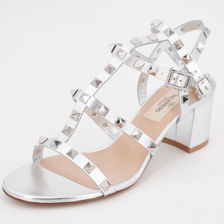 Metallic Leather Ankle Strap Heels with Dust Bag Size 6