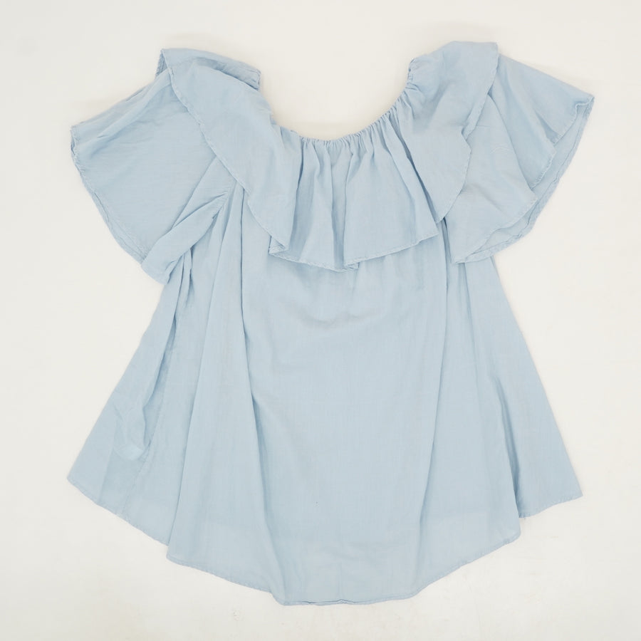 Maria Twill Voile Ruffle Blouse in Blue - Size L, XL