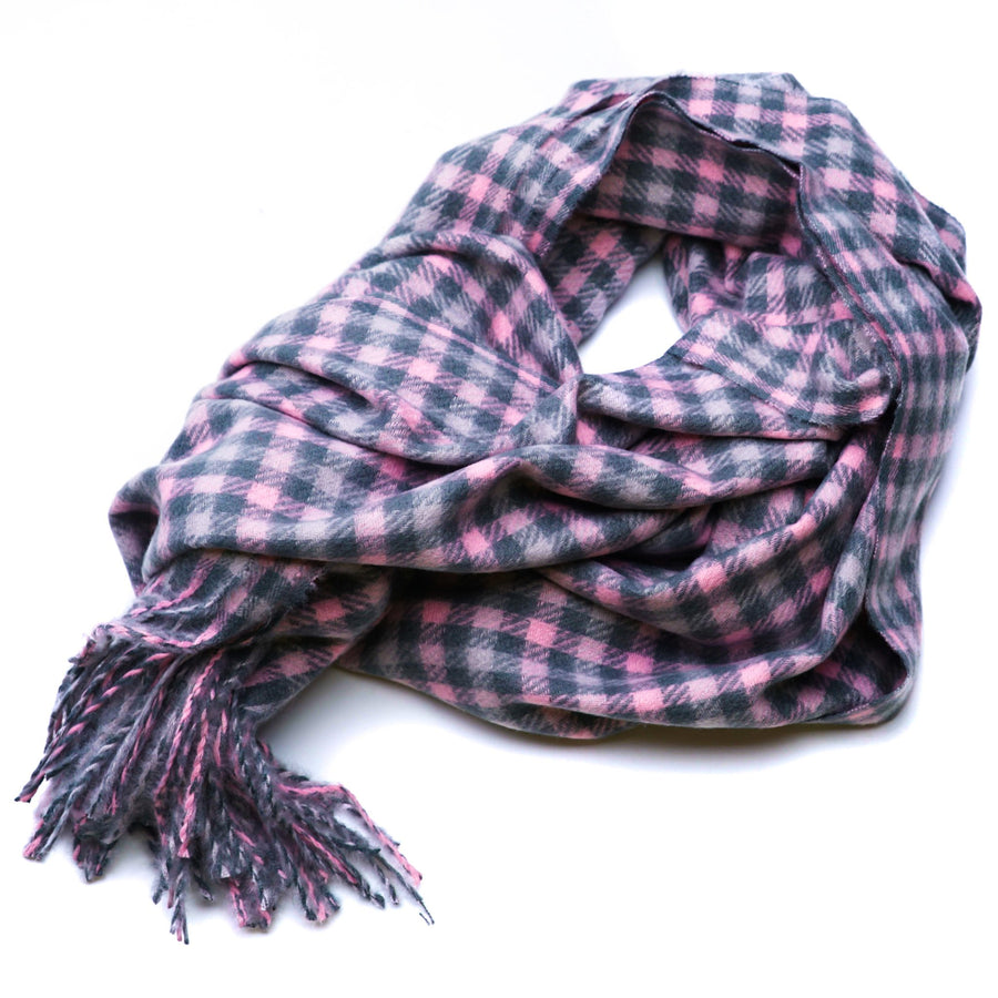 Pink & Gray Plaid Winter Scarf