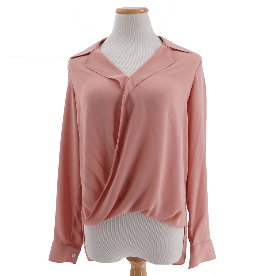 Notch Collar Surplice Neck Crossover Top Size XS