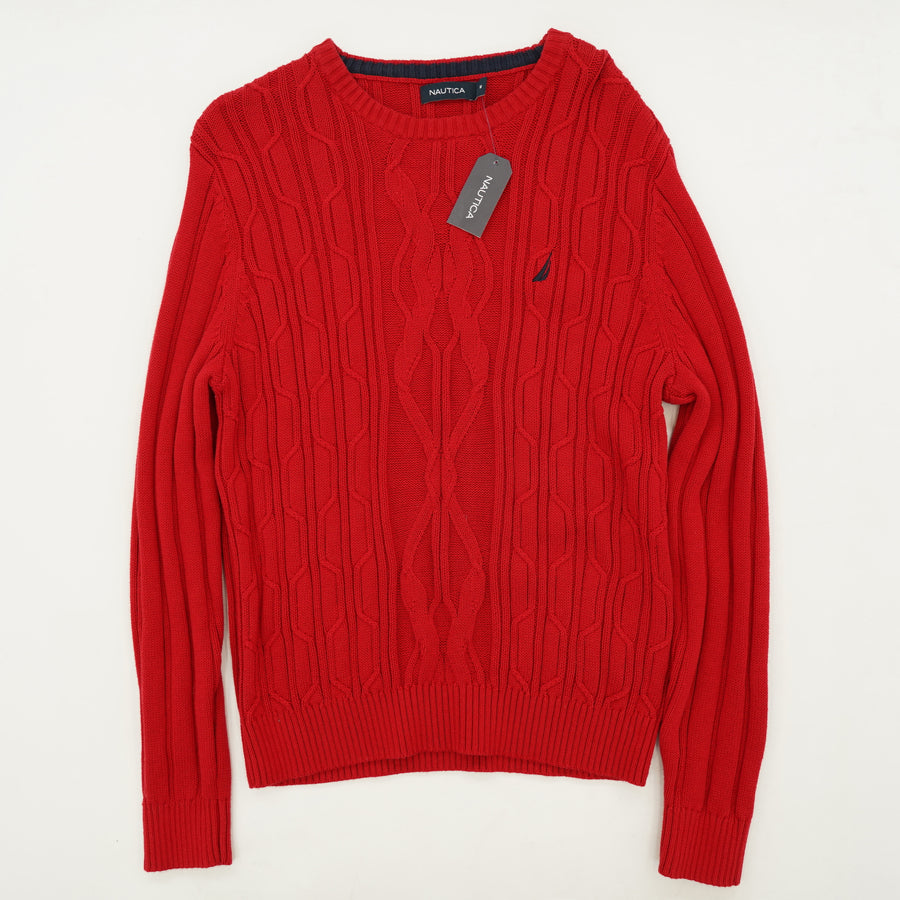 Red Textured Crew Neck Sweater Size M