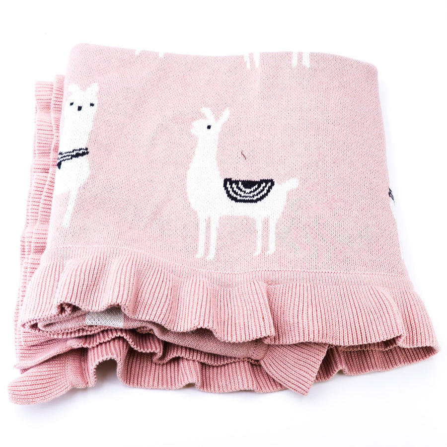 Llama Knitted Baby Blanket
