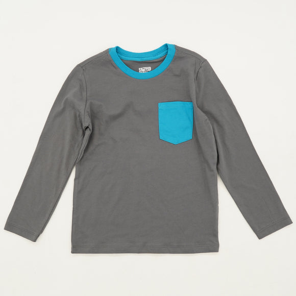 Gray Long Sleeve Pocket Tee Size 4/5